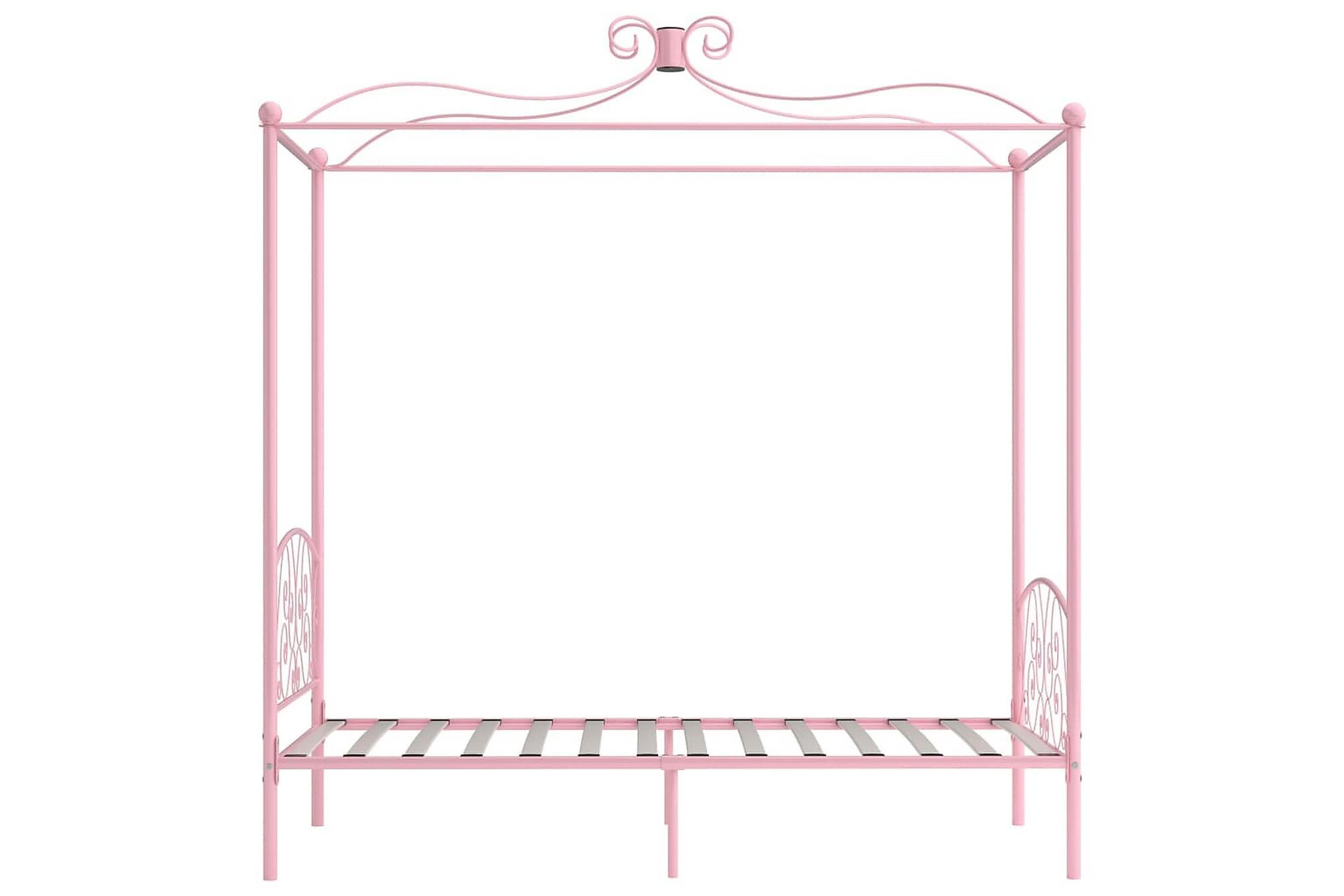 Himmelsäng rosa metall 100x200 cm, Himmelsäng