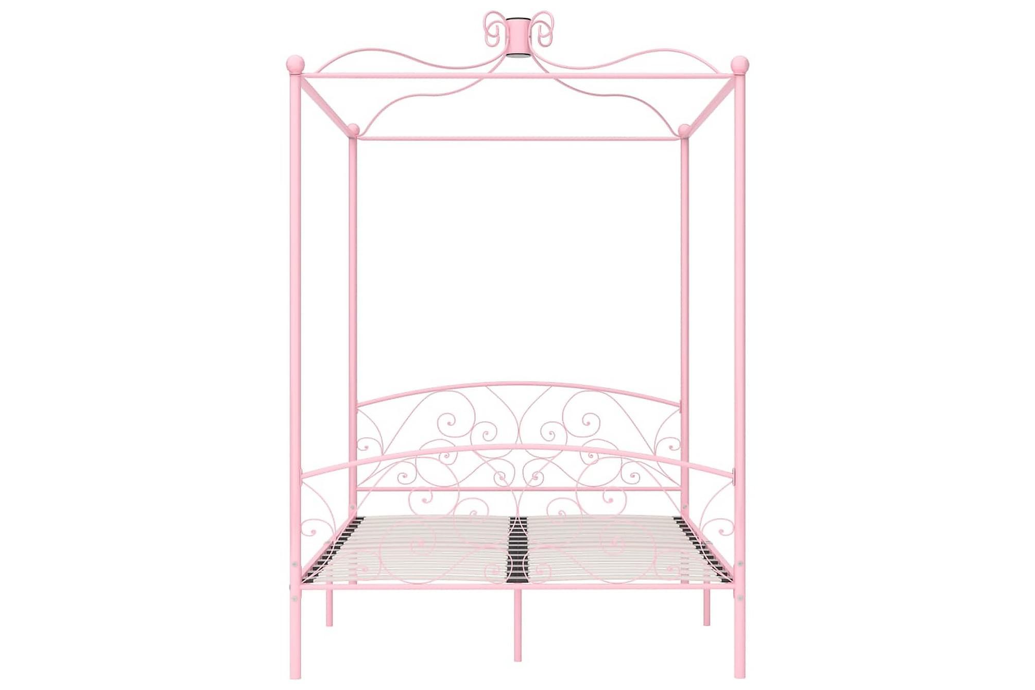 Himmelsäng rosa metall 140x200 cm, Himmelsäng