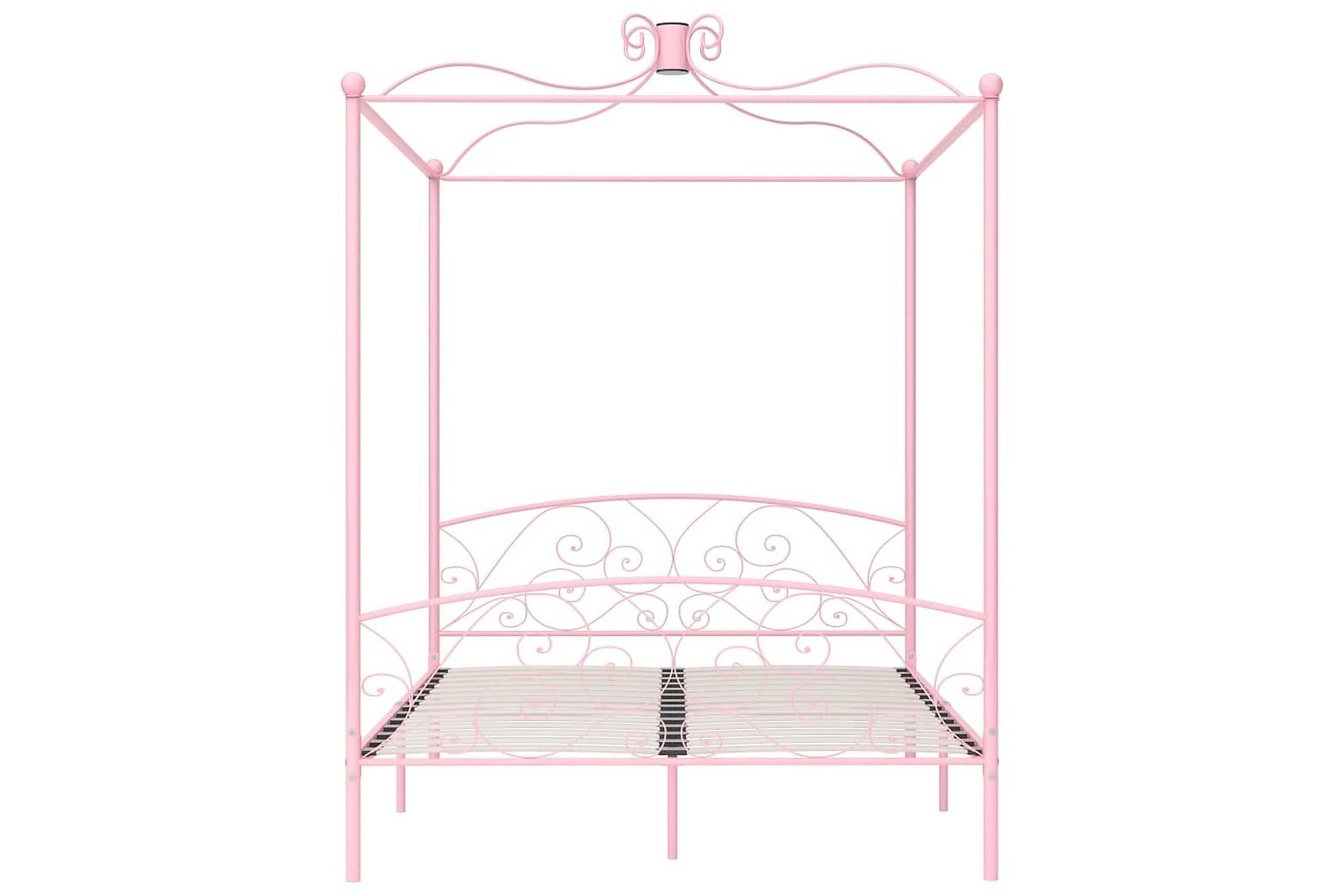 Himmelsäng rosa metall 160x200 cm, Himmelsäng