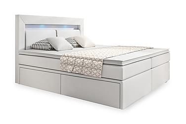 ELIO Sängpaket LED-Belysning/Förvaring 180 Vit PU
