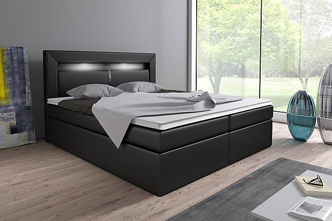 SIENNA Sängpaket 160 med Förvaring+LED Sänggavel Svart - Möbler & Inredning - Sängar - Komplett Sängpaket