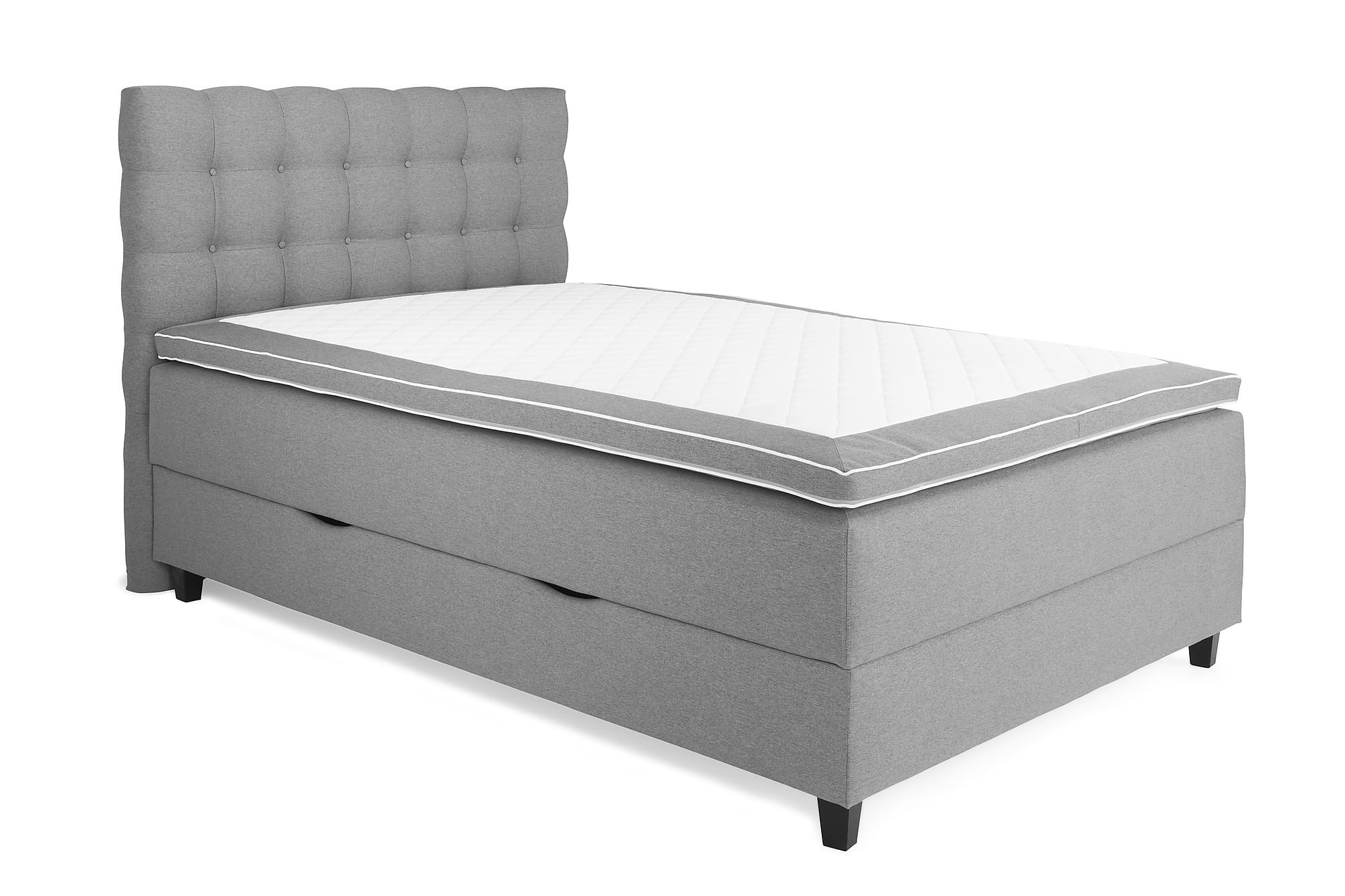 OAKHAM Säng med Förvaring 140×200 Ljusgrå