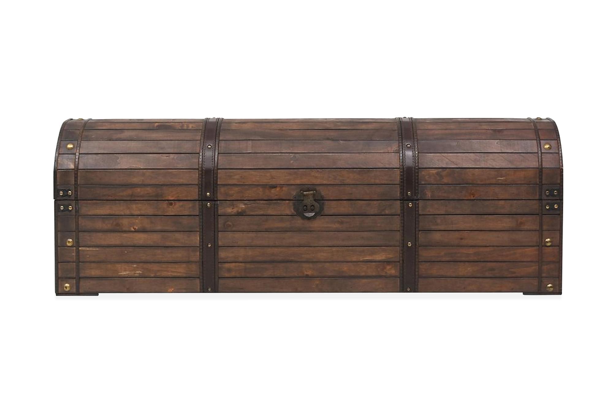 Förvaringskista massivt trä vintagestil 120x30x40 cm, Sängkista