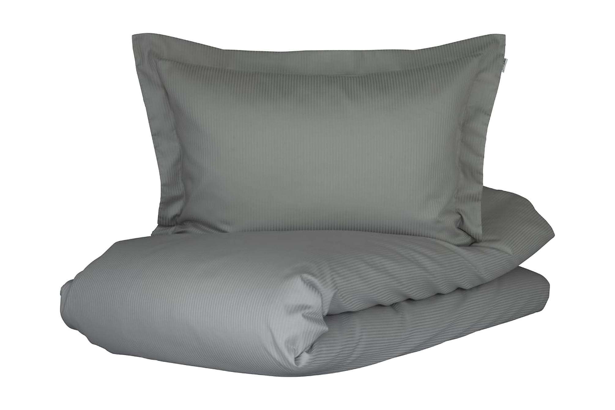 ALDERNEY Bäddset 150x210 cm Satin Ljusgrå, Sängkläder