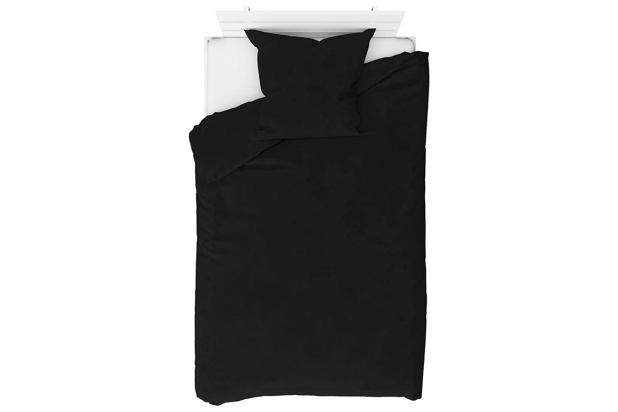 Bäddset 2 delar fleece svart 135×200/80×80 cm
