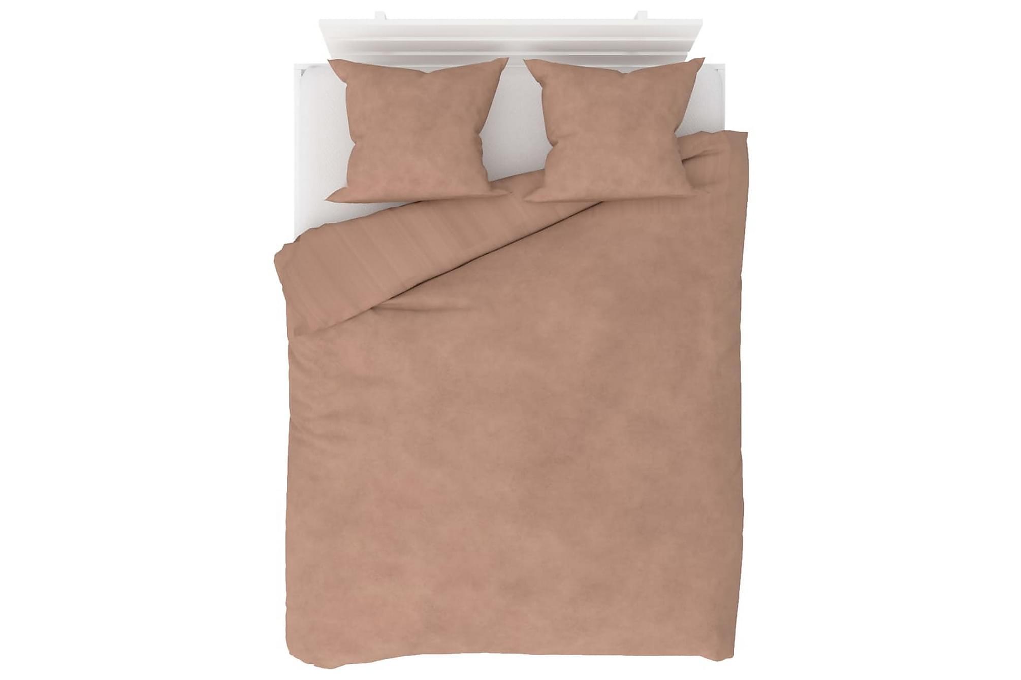 Bäddset 3 delar fleece beige 200×220/60×70 cm