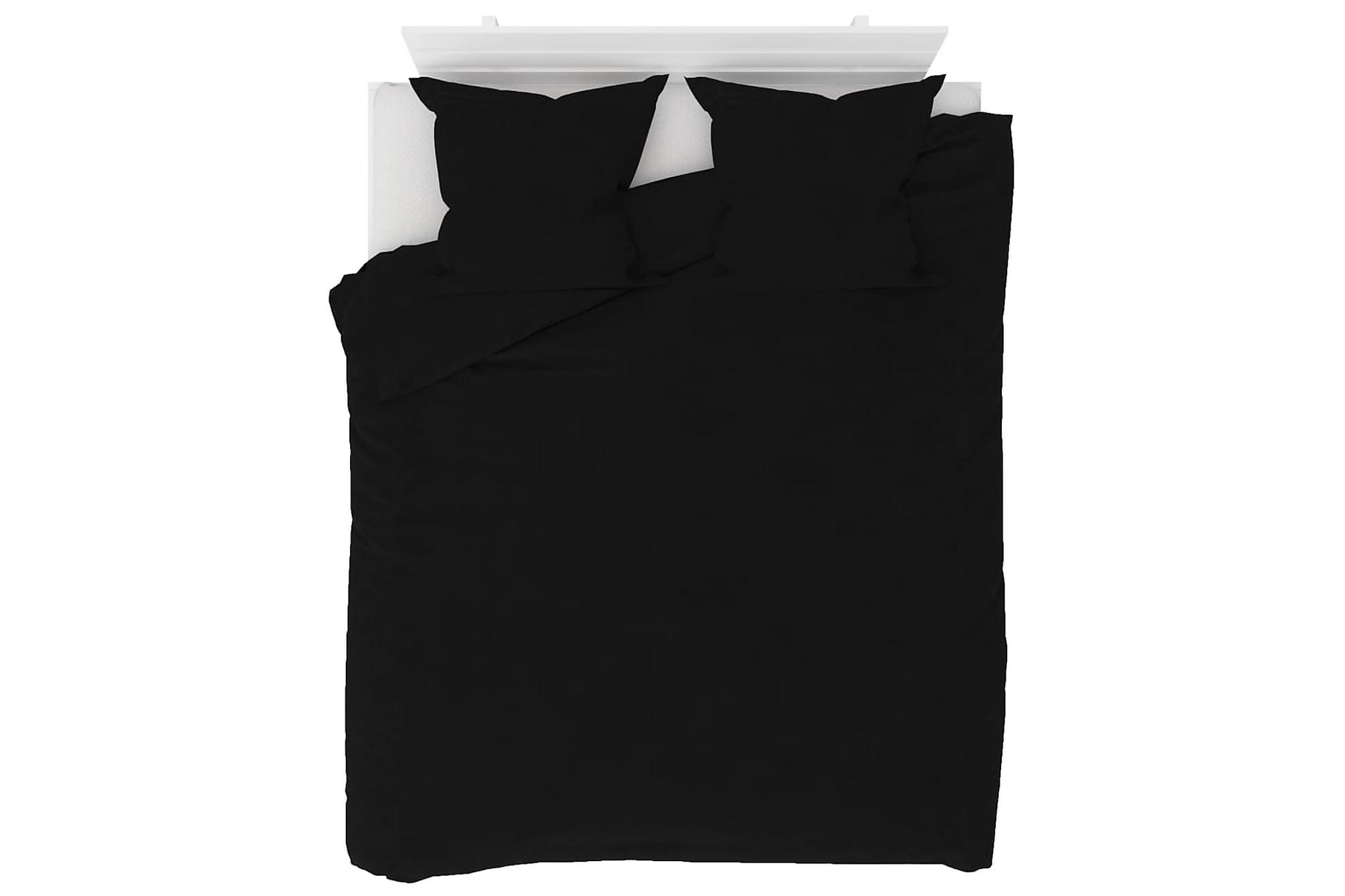 Bäddset 3 delar fleece svart 200×220/80×80 cm