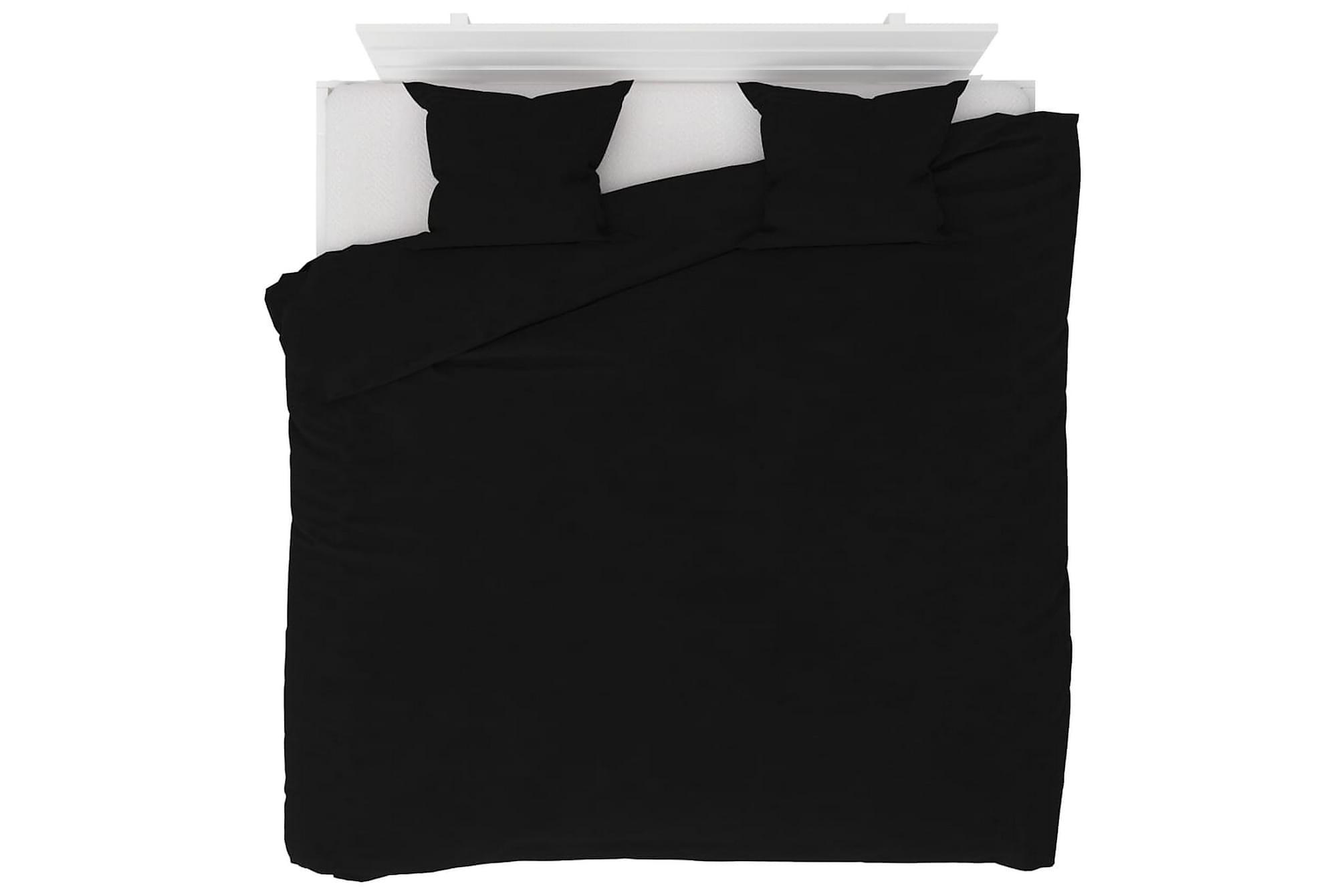 Bäddset 3 delar fleece svart 240×220/60×70 cm