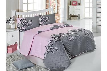EPONJ HOME Överkast Enkelt 160x220 Quilt+Örngott Rosa/Grå