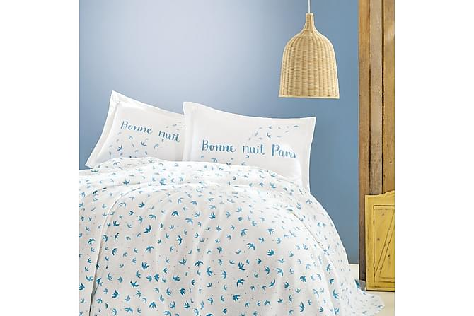 MARIE CLAIRE Överkast Enkelt 160x220+Lakan+Örngott Vit/Blå - Inomhus - Sängar - Sängkläder
