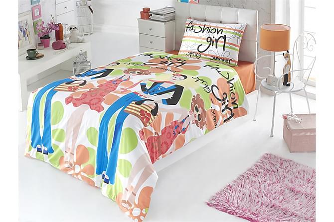 VICTORIA Bäddset Enkelt 3-dels Ranforce Vit/Orange/Multi - Inomhus - Sängar - Sängkläder