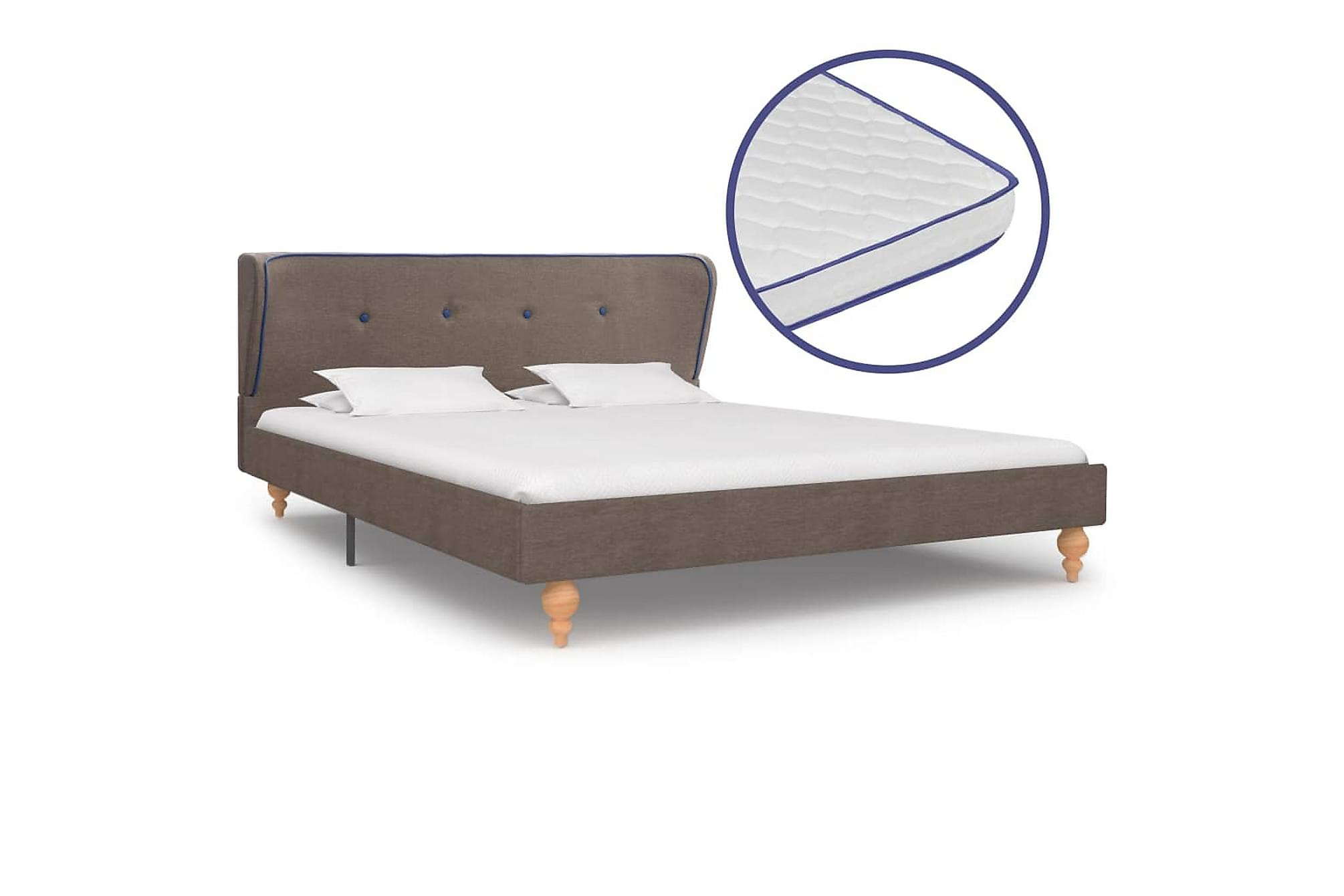 Säng med memoryskummadrass taupe tyg 140×200 cm