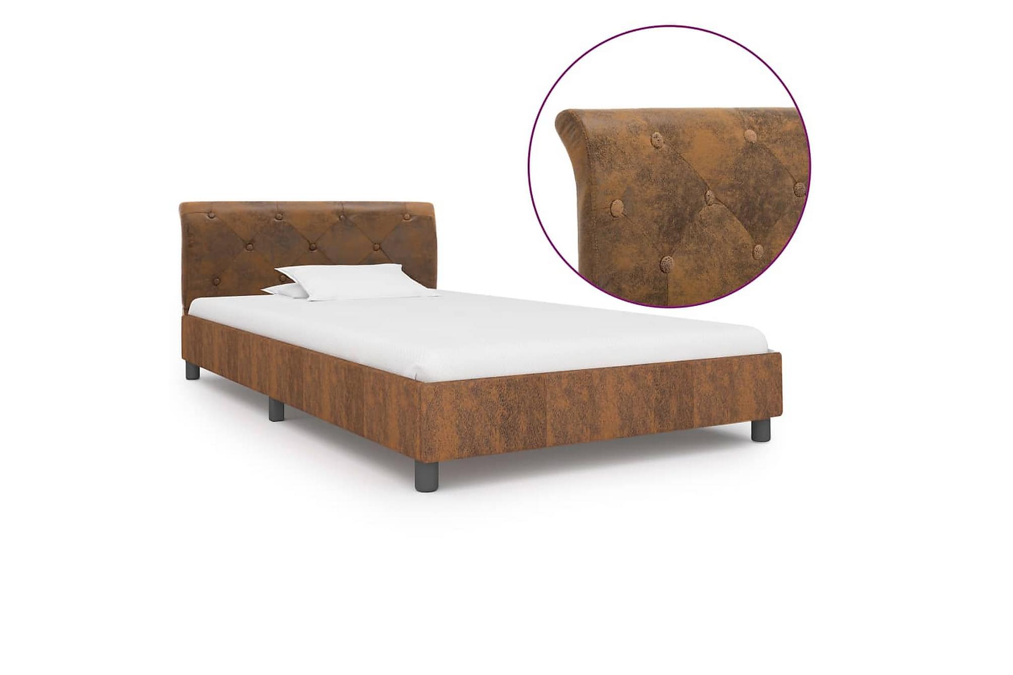 Sängram brun konstmocka 100×200 cm