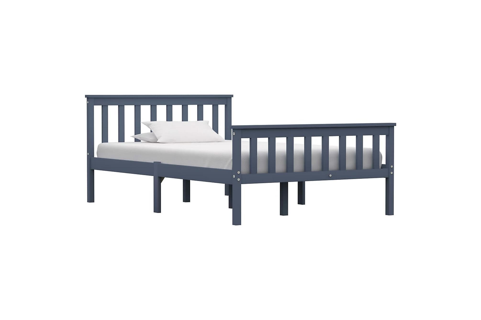 Sängram grå massiv furu 120×200 cm