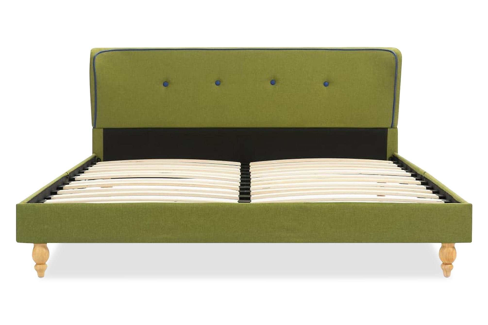 Sängram grön tyg 140×200 cm