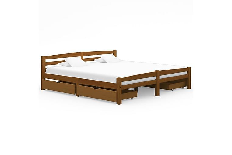 Sängram med 4 lådor honungsbrun massiv furu 200x200 cm - Brun - Möbler & Inredning - Sängar - Sängram & sängstomme