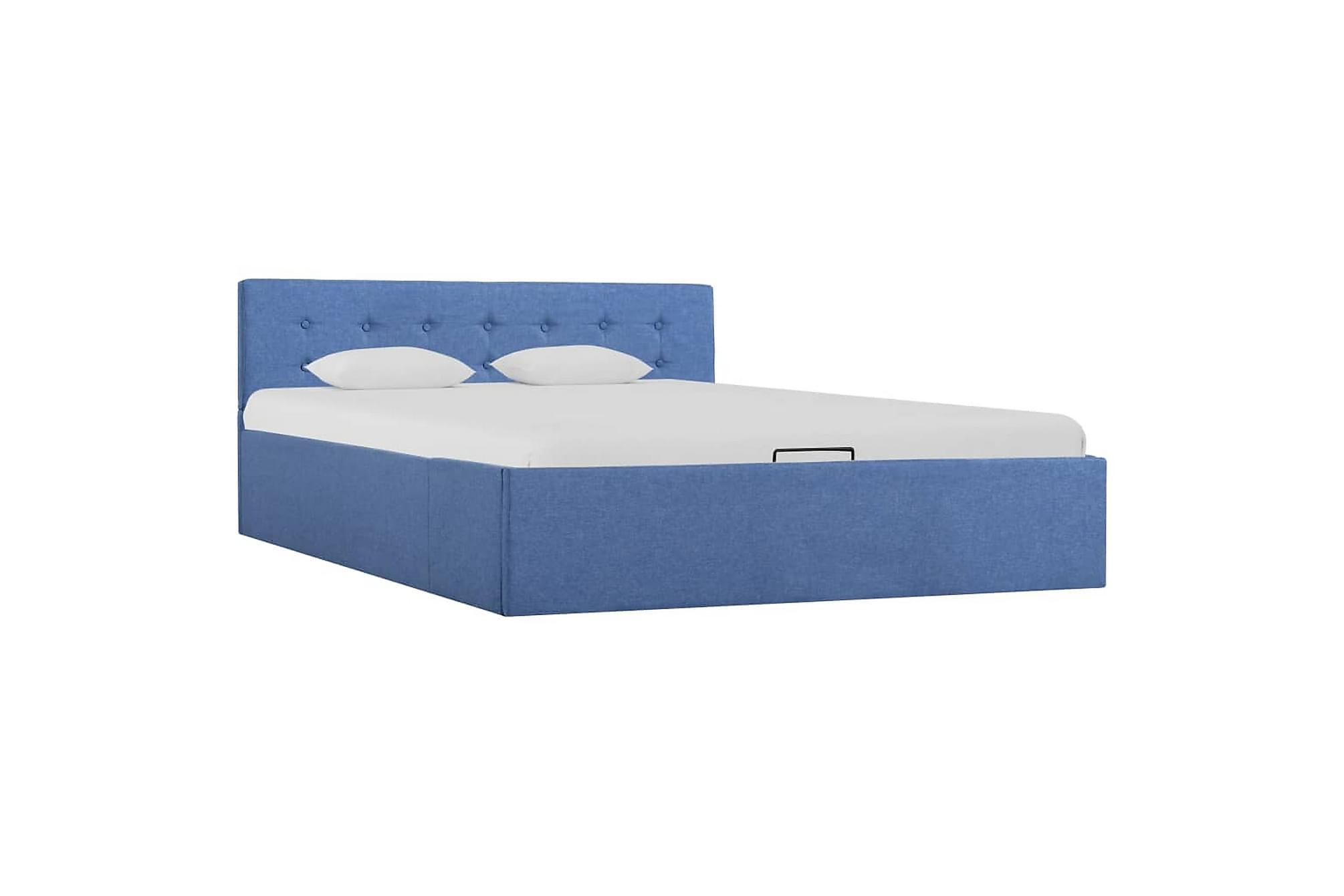 Sängram med hydraulisk förvaring blå tyg 140×200 cm