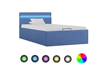 Sängram med hydraulisk förvaring med LED blå tyg 100x200 cm