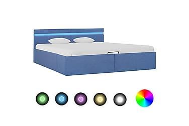 Sängram med hydraulisk förvaring och LED blå tyg 180x200 cm