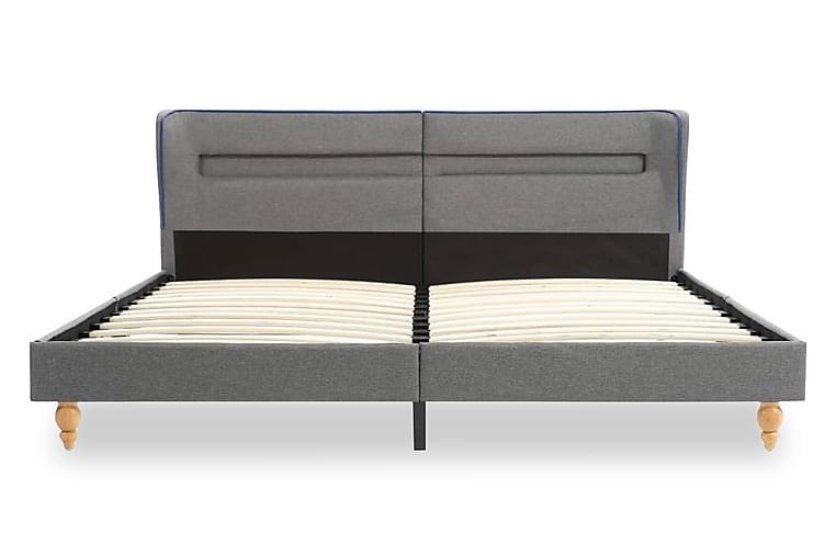 Sängram med LED ljusgrå tyg 160x200 cm - Grå - Möbler & Inredning - Sängar - Sängram & sängstomme