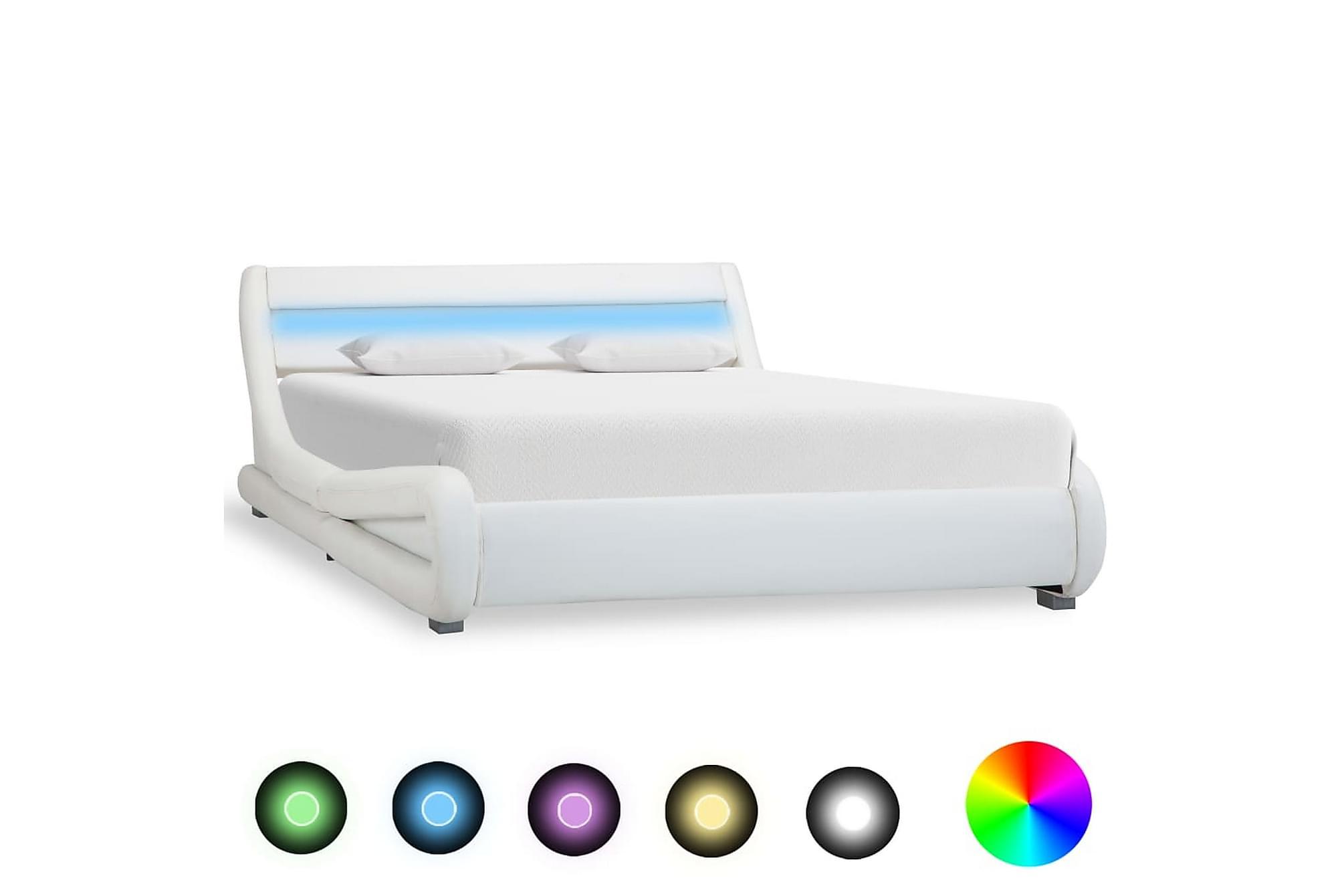 Sängram med LED vit konstläder 140×200 cm