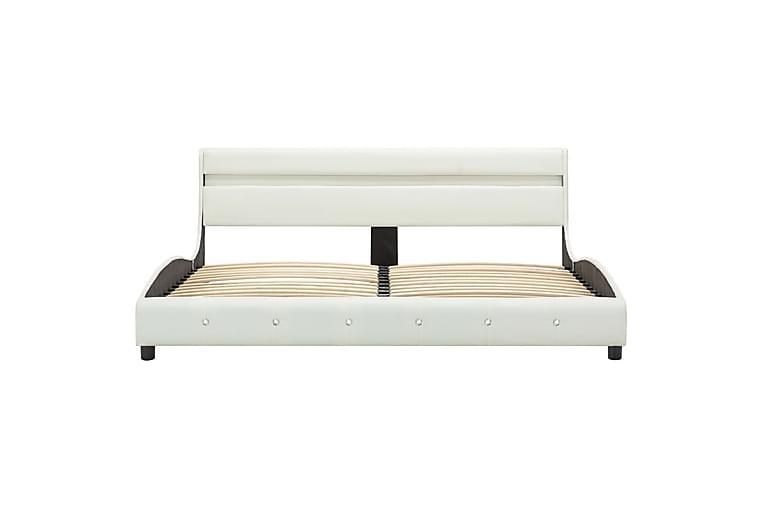 Sängram med LED vit konstläder 160x200 cm - Vit - Möbler & Inredning - Sängar - Sängram & sängstomme