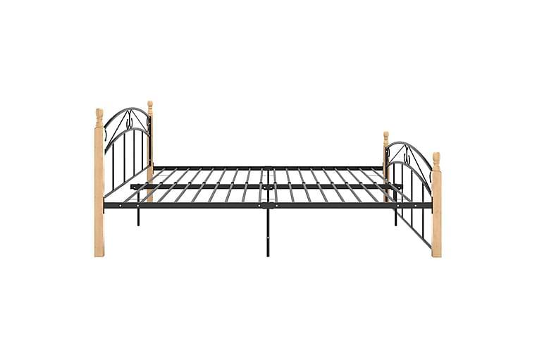 Sängram svart metall och massiv ek 180x200 cm - Svart - Möbler & Inredning - Sängar - Sängram & sängstomme