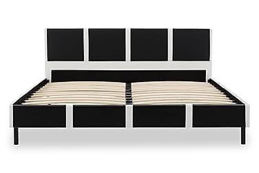 Sängram vit och svart konstläder 120x200 cm