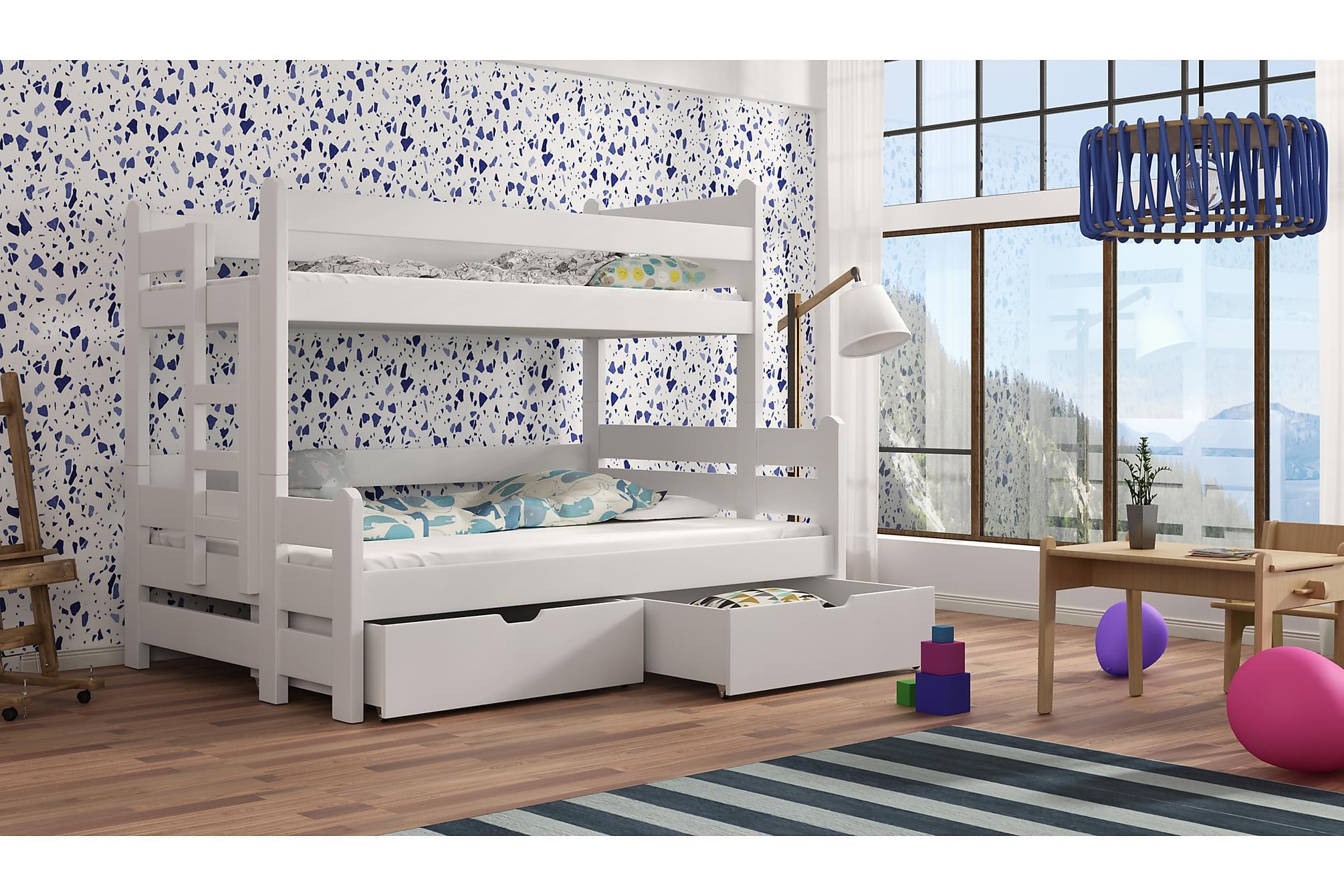 HOLLY Våningssäng 120 med Förvaring Vit