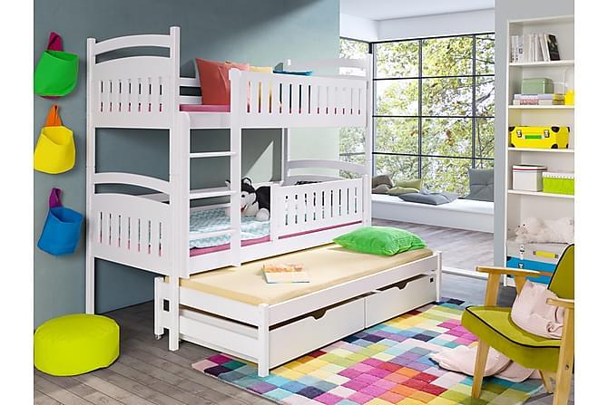 NADINE Våningssäng 80 med Extrasäng och Förvaring 3 Pers Vit - Möbler & Inredning - Sängar - Våningssängar