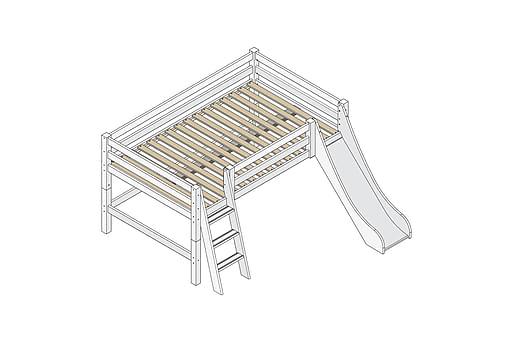 NYLLINGE Säng med stege och rutschkana 209 cm Vit, Våningssängar