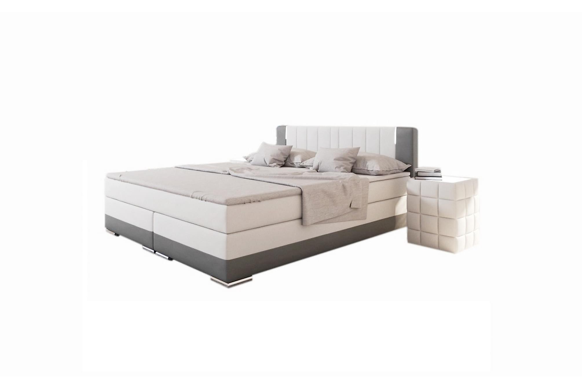 Box spring Säng 200x200 cm LED white / gray artificial leath, Sängar