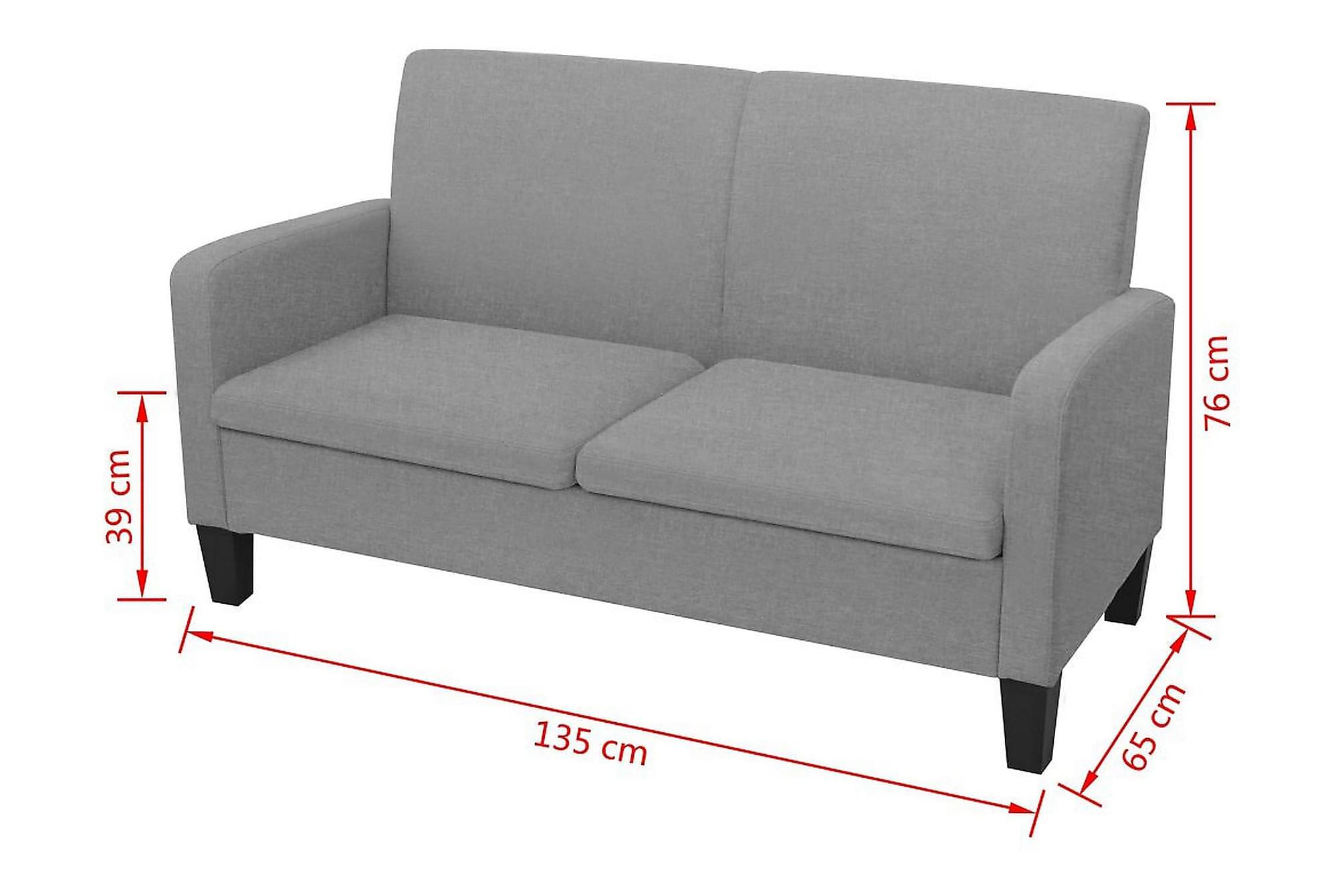 2-sitssoffa 135x65x76 cm ljusgrå, 2-sits soffor