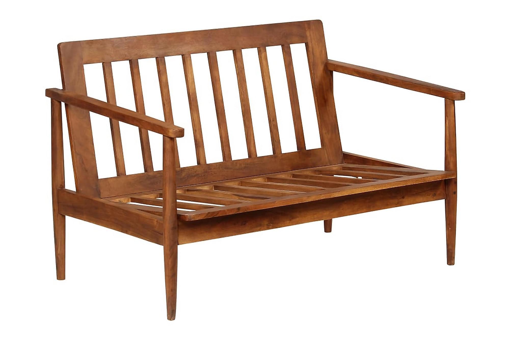2-sitssoffa i äkta läder med akaciaträ brun, 2-sits soffor