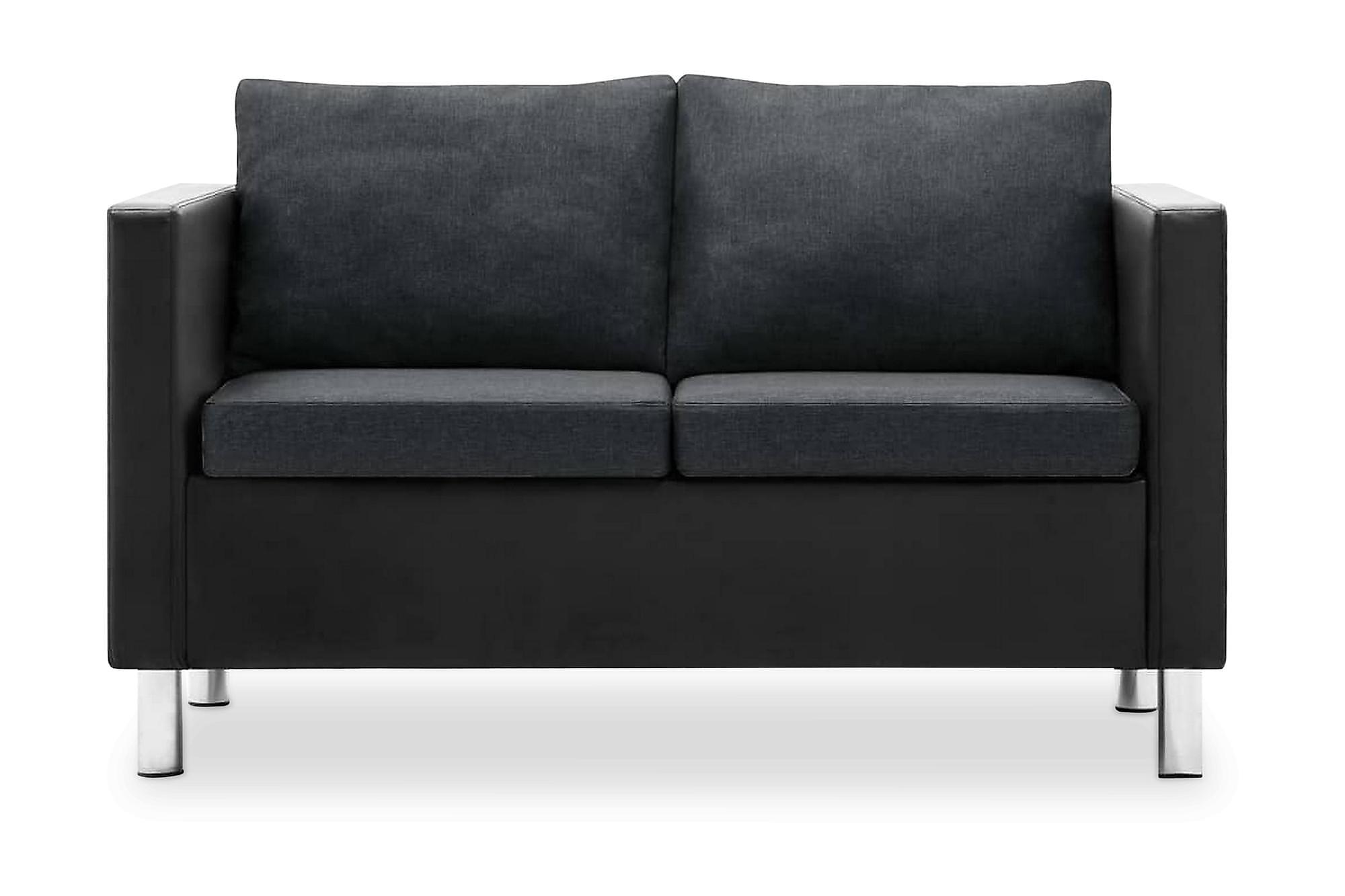 2-sitssoffa i konstläder svart och mörkgrå, 2-sits soffor