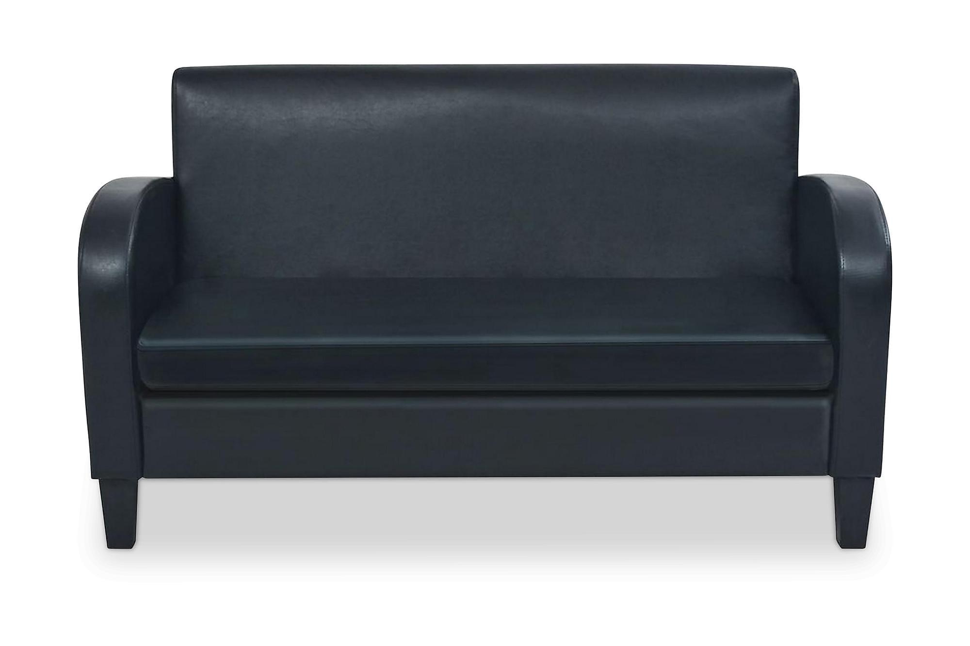 2-sitssoffa i konstläder svart, 2-sits soffor