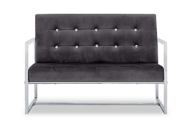 2-sitssoffa med armstöd mörkgrå krom och sammet - Grå - Möbler & Inredning - Soffor - 2-sits soffor