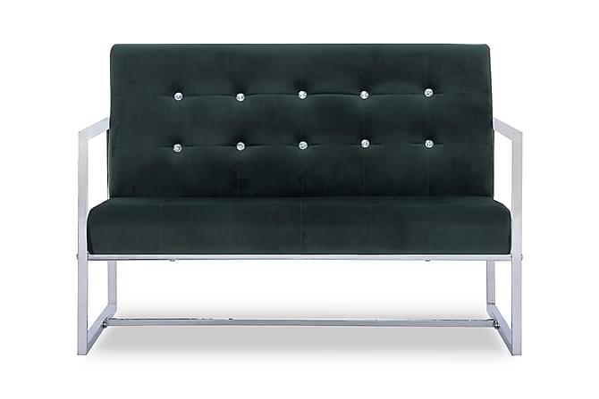 2-sitssoffa med armstöd mörkgrön krom och sammet - Grön - Möbler & Inredning - Soffor - 2-sits soffor