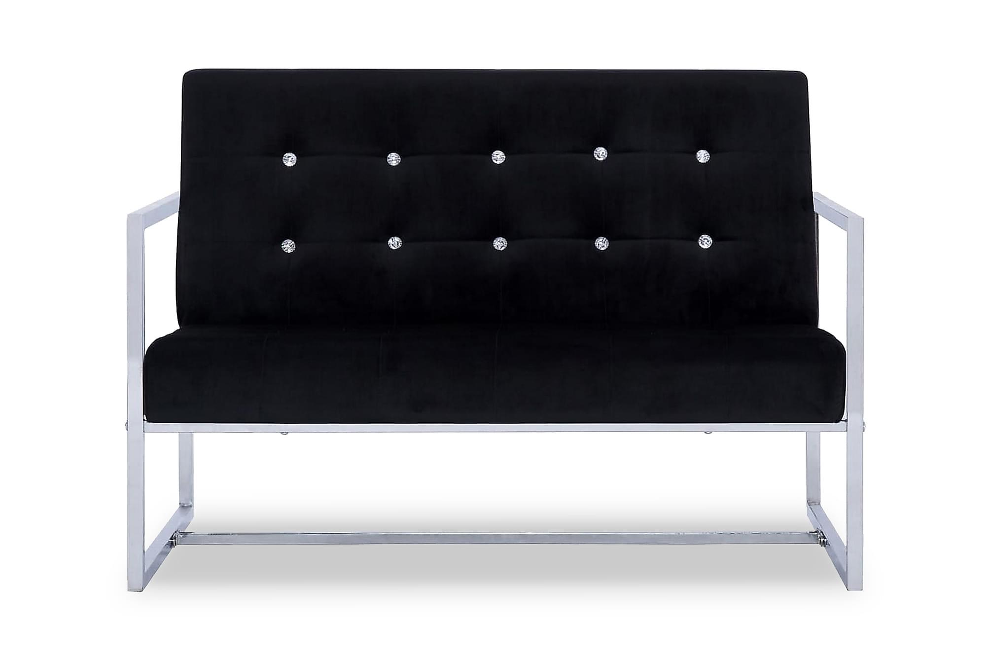 2-sitssoffa med armstöd svart krom och sammet, 2-sits soffor