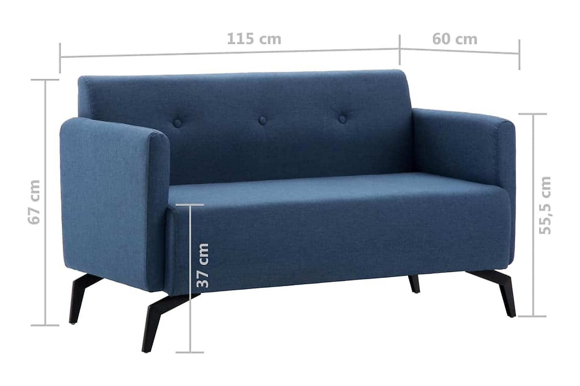 2-sitssoffa med tygklädsel 115x60x67 cm blå, 2-sits soffor