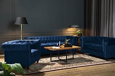 CHESTERFIELD Soffa 2-sits Blå Sammet