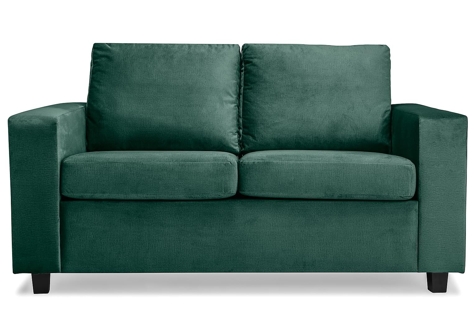 NEW YORK 2-Sits Soffa Sammet Grön Konade Svarta -