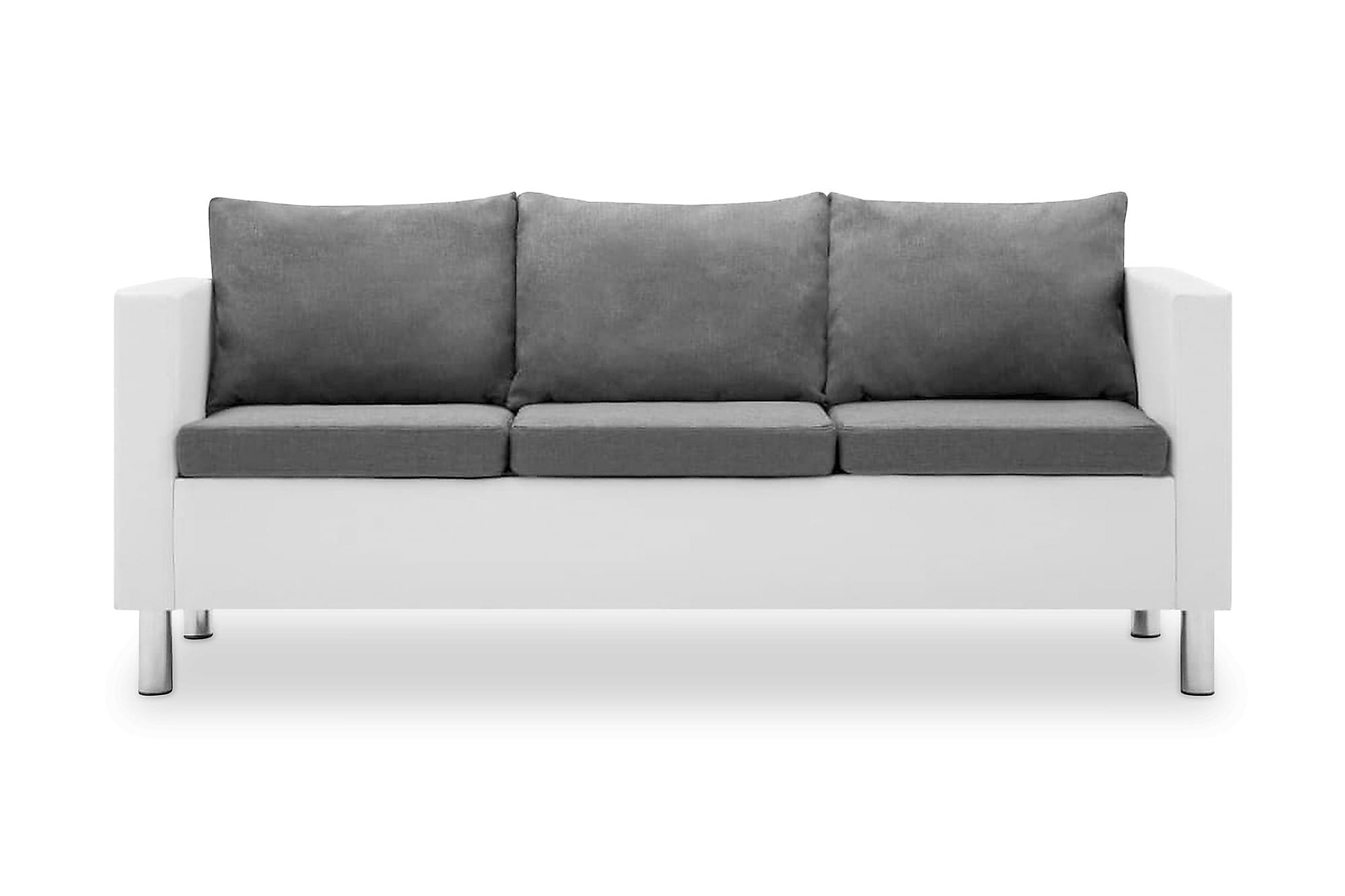 3-sitssoffa i konstläder vit och ljusgrå, 3-sits soffor