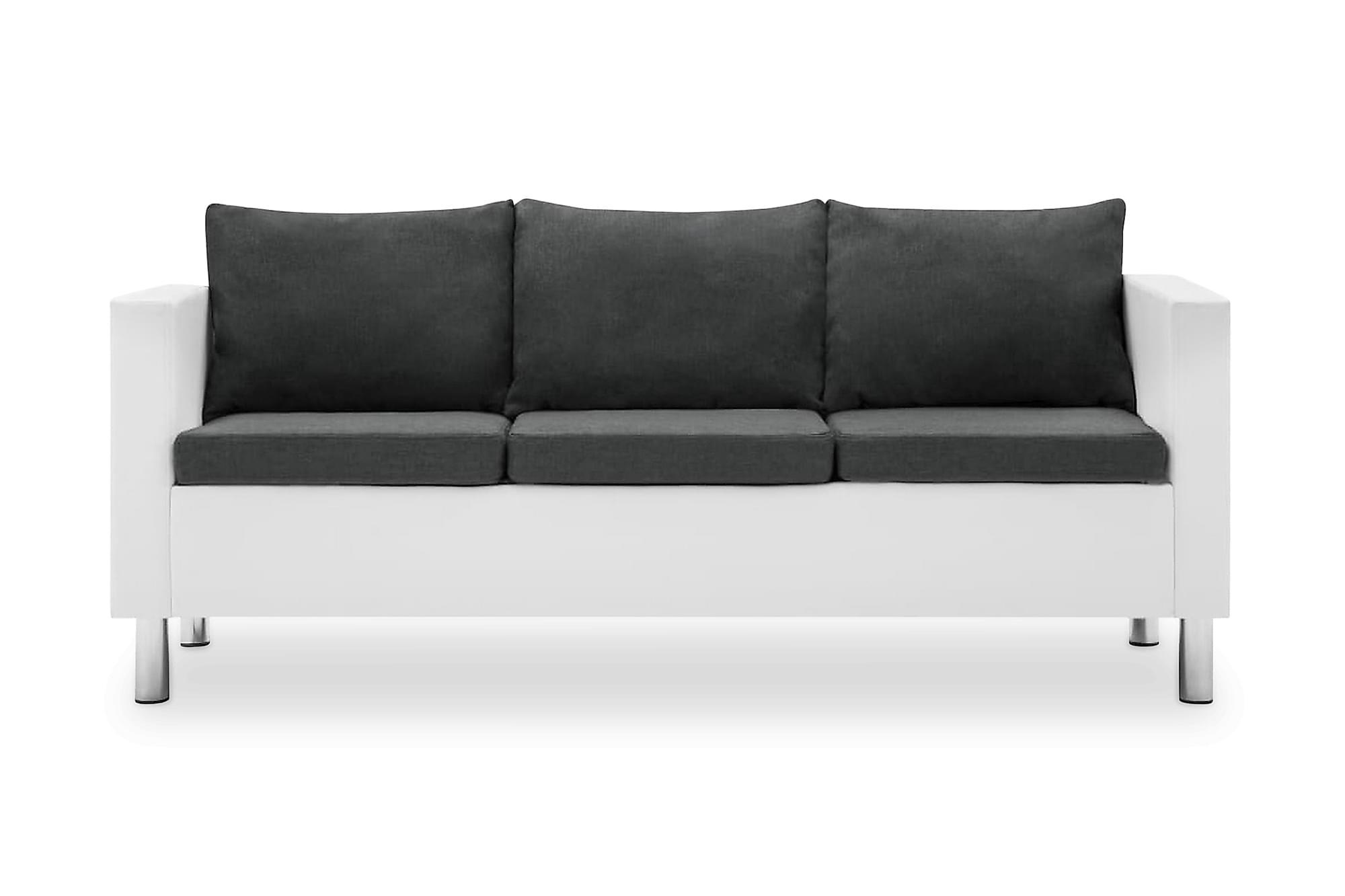 3-sitssoffa i konstläder vit och mörkgrå, 3-sits soffor