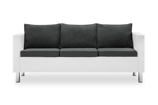 3-sitssoffa i konstläder vit och mörkgrå - Vit Svart - Möbler & Inredning - Soffor - 3-sits soffor