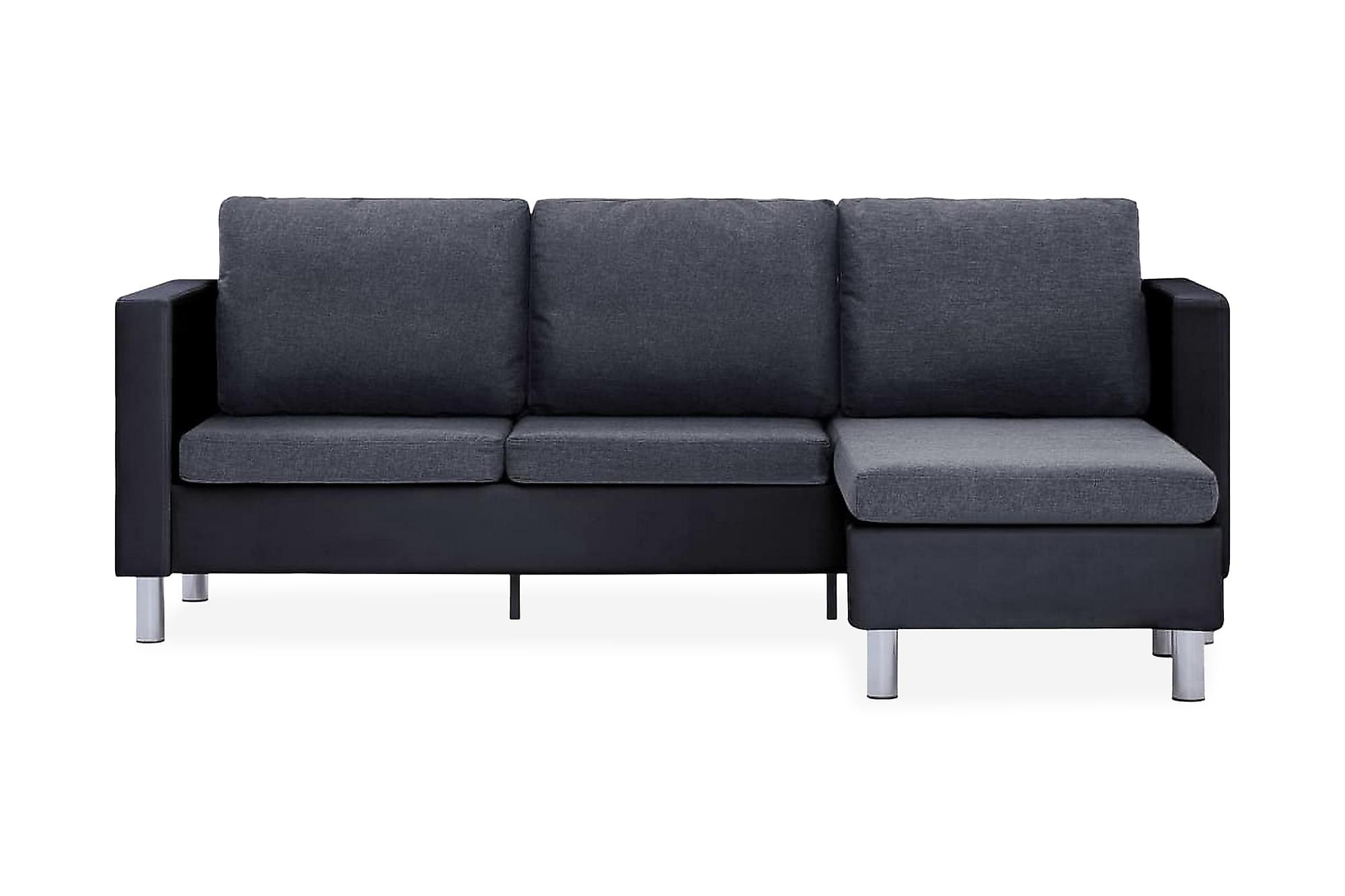 3-sitssoffa med dynor konstläder svart, 3-sits soffor