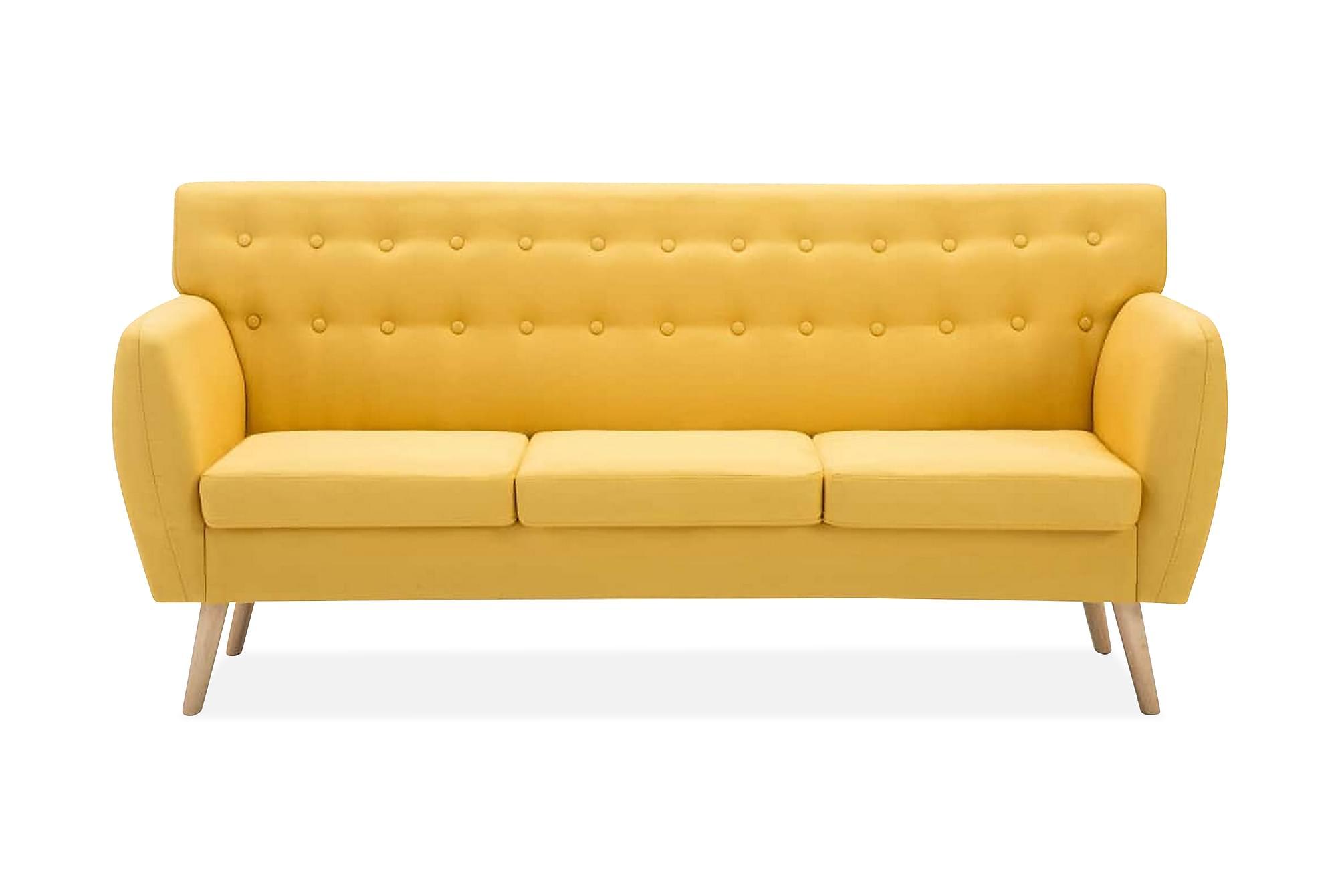 3-sitssoffa med tygklädsel 172x70x82 cm gul, 3-sits soffor