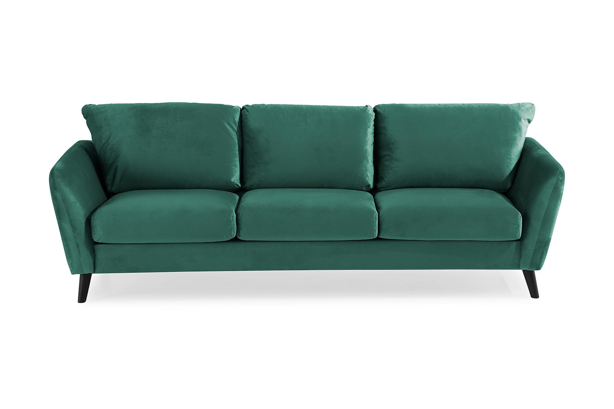 OSCAR Sammetssoffa 3-sits Grön