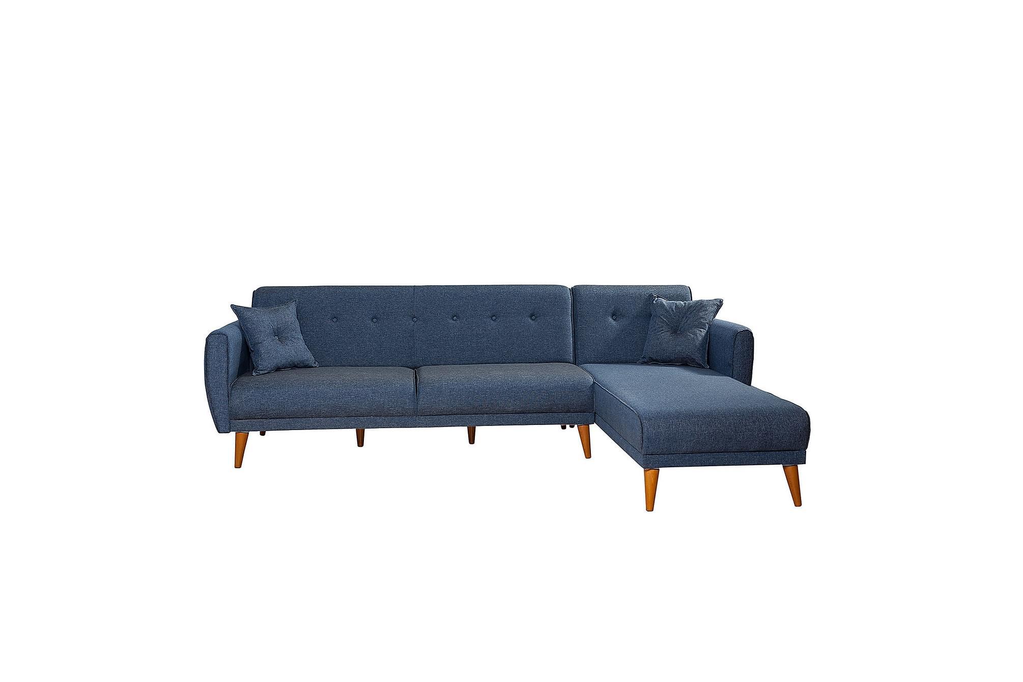 Auchencairn bäddsoffa med divan höger blå