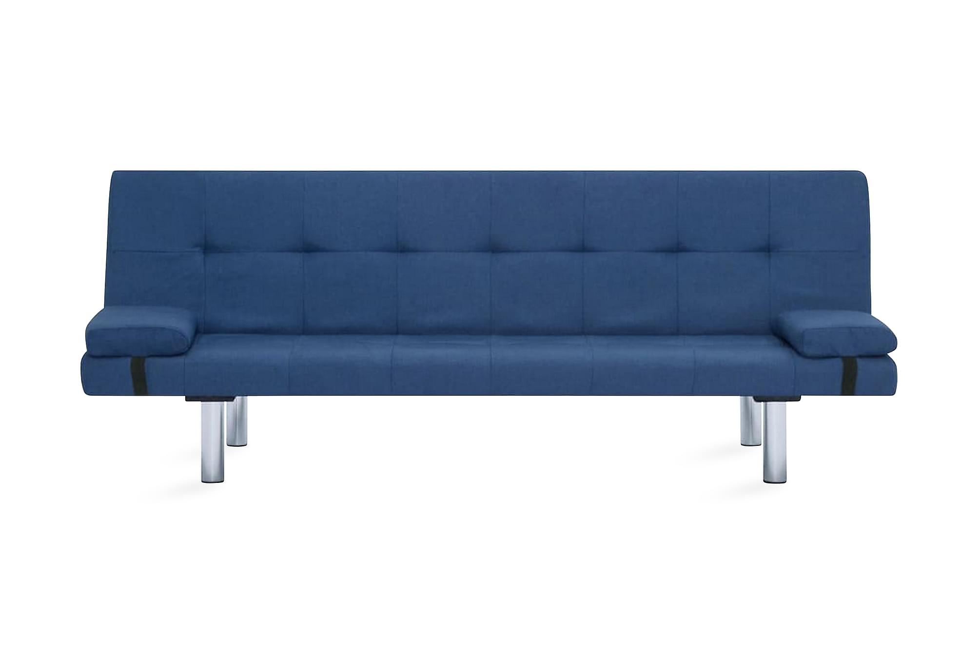 Bäddsoffa med två kuddar blå polyester
